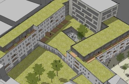 3D beeld van Goed Arthur in vogelperspectief. Er zijn groene daken te zien.