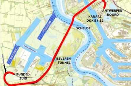 Op map aangeduide spoortunnel Liefkenshoek die van Antwerpen-Noord tot Bundel-Zuid loopt